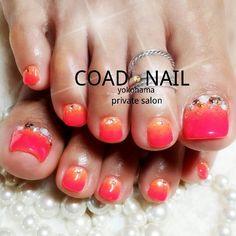 Red-Orange Toe Nail Art #nailbook