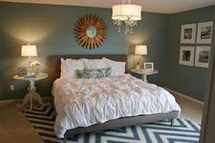 love the slate blue wall color with neutral accents