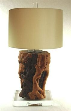 Root Form Wood Table Lamp on Base | Mecox Gardens