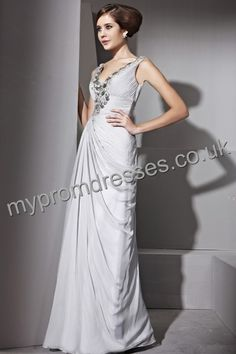 Floor Length Deep-v-neck Gray Chiffon A-line Evening Dress  http://www.mypromdresses.co.uk