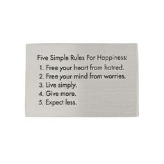 Five Simple Rules for Happiness Inspirational Pewter Paperweight