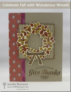 Fun card for using your pattern papers and the Wonderous Wreath stamp set!  | by Jennifer Blomquist - Northwest Stamper
