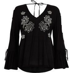 River Island Black floral embroidered tie sleeve top (938.070 IDR) ❤ liked on Polyvore featuring tops, blouses, black, women, long bell sleeve tops, tie top, flared sleeve blouse, sleeve blouse and v-neck tops