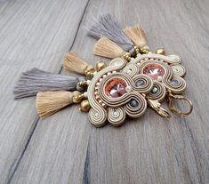 Boho Tassel Earrings Beige Bridal Earrings Soutache