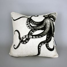 Hand printed Octopus linen cushion - Classic, Contemporary & Cottage for your home