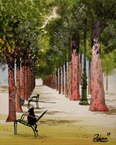 PARIS-GARDEN-CAT-Raphael-VAVASSEUR-Peinture-Originale-Original-Painting