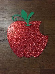 5 Snow White Bitten Apple Glitter Paper Cutouts by MonroeAndCoShop