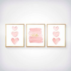 A romantic blush pink and gold watercolor ombre art print created from my original watercolor painting. Each end is finished with a blush heart…