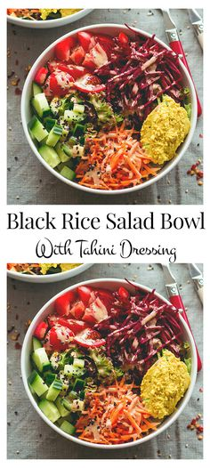 The black rice salad buddha based bowl with tahini dressing is not just a tasty looking one but it's good looking as well. Healthy Salad Recipes, Whole Food Recipes, Healthy Snacks, Vegetarian Recipes, Dinner Recipes, Healthy Eating, Lunch Recipes, Yummy Recipes, Protein Shakes