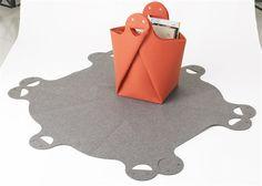 "Akanbe ""Origami"" Felt Basket by Takashi Hojo via Japanese Modern Design. (Unfolded, laid flat): W 1050 x D 1000 x H 3mm (41.33"" x 39.4"" x .11"")"