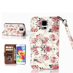 Roses Pattern PU Leather Case with Card Slot for Samsung Galaxy S5 I9600 - USD $4.99