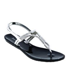 Take a look at this Black & Silver Cords T-Strap Sandal by Dizzy Shoes on #zulily today!