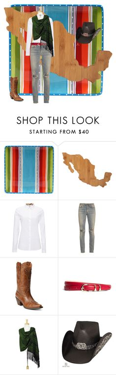"""16 de septiembre, Independencia de México."" by liliamarquez on Polyvore featuring moda, Certified International, Totally Bamboo, Burberry, Yves Saint Laurent, Ariat, Brooks Brothers y NOVICA"