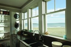 Interior view of craftsman style double hung windows.