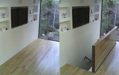Insérer un 'floor access hatch le long d'un mur en face d'une fenêtre est un combinaison gagnante sur tous les points.   Fonctionnalité, gestion de l'espace et agréable expérience pour l'utilisateur.