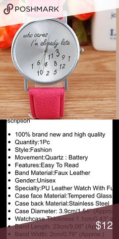 Women's watch brand new in package unique & cute This would make the perfect unique gift it describes me totally lol. Sizes and description in pics.  Thank you. Accessories Watches