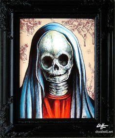 Black Mary  Original  Dark Art Virgin Mary Skull by chuckhodi, $90.00