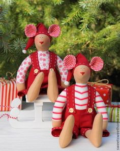Мышки Тильда - ярко-красный,новогодний подарок,новогодняя игрушка,мышка