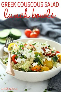 These Greek Couscous Salad Lunch Bowls are packed with veggies, making them the perfect healthy choice for lunch at home or work! Recipe from thebusybaker.ca! #mealprep #lunchprep #worklunch #greeksalad