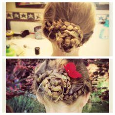 2 braids wrapping into a braided bun