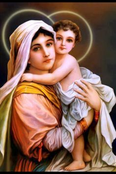 Our Blessed Mother Mary and Baby Jesus (via Rekindled Cottage)