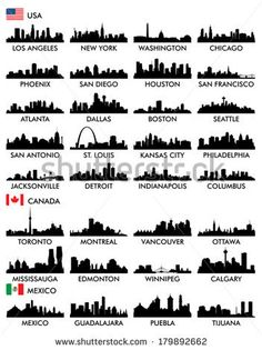 Find City Skyline North America stock images in HD and millions of other royalty-free stock photos, illustrations and vectors in the Shutterstock collection. Thousands of new, high-quality pictures added every day. Skyline Silhouette, Silhouette Vector, Icon Set, Skyline Tattoo, New York Washington, City Tattoo, Home Tattoo, North America, America City
