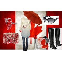 The umbrella sounds about right this year. Canada Party, Canadian Things, Cabin Chic, Happy Canada Day, O Canada, Polyvore Outfits, Outfit Of The Day, Red And White, True North