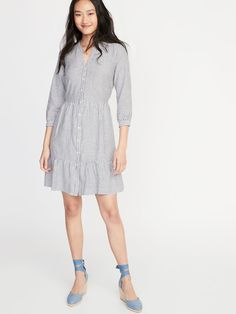 6158295f027 Waist-Defined Striped Shirt Dress for Women. Old Navy