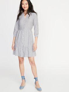 cdf7d944bf5 Waist-Defined Striped Shirt Dress for Women. Old Navy