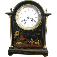 Black Chinoiserie Chiming Mantle clock