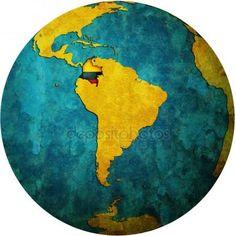 Bandera de Colombia en el mapa de mundo — Foto de Stock #13825288 South American Flags, Colombia Flag, Ecuador, Tatoos, Globe, Culture, Stock Photos, Bella, Montessori