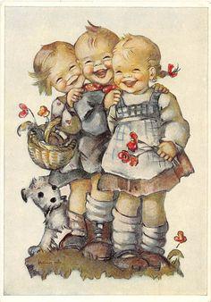 Signed Artist Hummel Children with Puppy Vintage Postcard J5764 | eBay