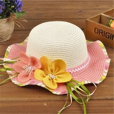 Pretty two flowers straw hat for kids summer sun hats