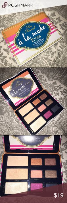 Too Faced À la mode Eyes Palette From the sexy st tropez collection, this is a beautiful Palette with a range of highly intense pigmented colors of with coral, golden pink and fiery copper hues. This palette comes with a Step-by-Step instruction guide showing three looks to get you started. A few of the colors have been used a few times; I clean up and sanitize all my gently used products. If you have any question please let me know. Thank you for looking :) Sephora Makeup Eyeshadow