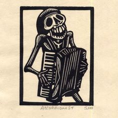 Woodblock prints by Sam Hamrick of Fiddlebones. He has a whole series of robust skeletons playing a variety of musical instruments