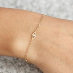 Evil Eye 14K Gold Bracelet White Diamond Dainty Gold