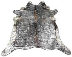 H-654 Silver Metallic on Hereford Acid Wash Cowhide by Cowhidesusa