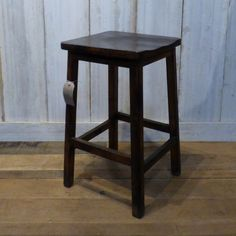 Rustic dark wood vintage stool.  This lovely little dark wood stool is full of rustic charm.  #cheshire #reclamation #salvage #antiques #collectables #vintage #retro #home #garden #design #interiordesign #furniture #antique #design #reclaimed #rustic #industrial