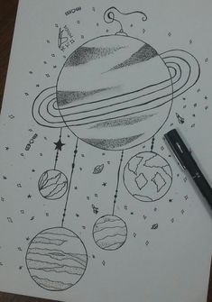 Filtro dos planetas – Keep up with the times. Space Drawings, Girly Drawings, Dark Art Drawings, Art Drawings Sketches Simple, Pencil Art Drawings, Cute Easy Drawings, Galaxy Drawings, Planet Drawing, Doodle Art Drawing