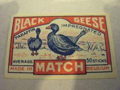 Matchbox Label, Black Geese, Belgium | eBay