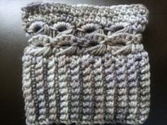Boot cuffs in shades of Grey with broom stick lace stitching