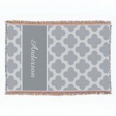 Bold Pattern Quatrefoil Grey Throw Blanket $79.95