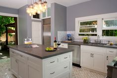 Soapstone counter-top kitchen with subway tile back-splash and marble flooring. Soapstone Counters, Bathroom Countertops, Concrete Countertops, Kitchen Tops, New Kitchen, Kitchen Decor, Kitchen Cabinets, Kitchen Ideas, Subway Tile Kitchen