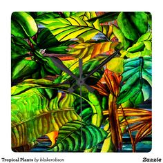 """""""Tropical Plants"""" Digital Art by Blake Robson posters, art prints, canvas prints, greeting cards or gallery prints. Find more Digital Art art prints and posters in the ARTFLAKES shop. Tropical Wall Clocks, Canvas Prints, Art Prints, Tropical Plants, Digital Art, Gallery, Poster, Painting, Design"""