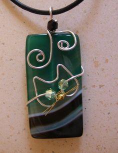 Unique Silver Wire Cat on Green Agate Pendant Necklace. $12.50, via Etsy.