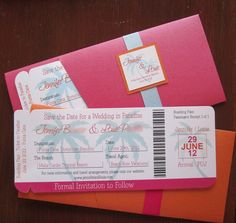 Save the date / boarding pass - destination wedding