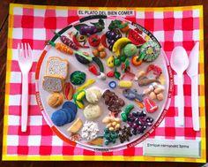 Maqueta del plato del bien comer hecho con plastilina (masilla) en 3D, proyecto escolar