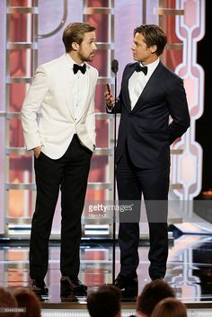 Actors Brad Pitt and Ryan Gosling attend the 73rd annual Golden Globe Awards sponsored by FIJI Water at The Beverly Hilton Hotel on January 10, 2016 in Beverly Hills, California.