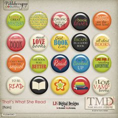 That's What She Read Flairs by Tami Miller Designs and LJS Digital Designs