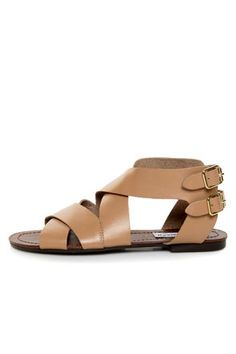 Steve Madden Achilees Natural Leather Flat Gladiator Sandals $29!!